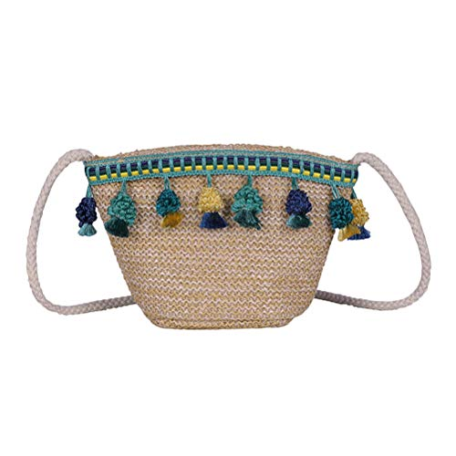 FENICAL Bolso de paja Bolso bandolera con borlas de bandolera Bolso de playa tejido a mano para mujer niña (verde)