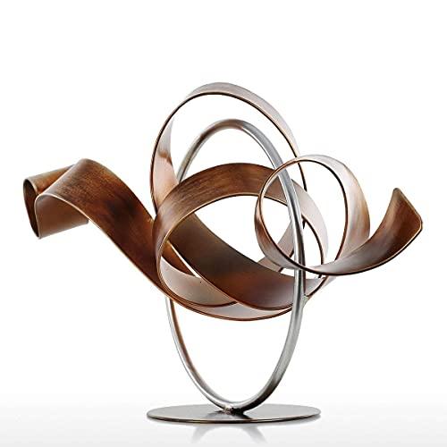 Exquisita Estatua Decorativa Tooarts Estatua De Círculo Y Cinta Escultura Abstracta Moderna Escultura De Metal Hierro Decoración Del Hogar Accesorios De Decoración Del Hogar-In Estatuas Esculturas De