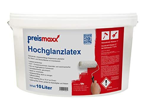 preismaxx Hochglanzlatex Wandfarbe, abwischbare Latexfarbe, weiß, glänzend, 10 Liter, Deckkraftklasse 2, Nassabriebklasse 1