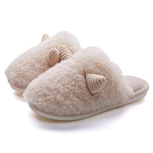 XZDNYDHGX Zapatillas de Estar por Casa Invierno Caliente,Horn Plush Couple Zapatillas de algodón Zapatos para el hogar, Zapatos de Suela Gruesa cálidos para Interiores Mujeres Beige EU 39-40