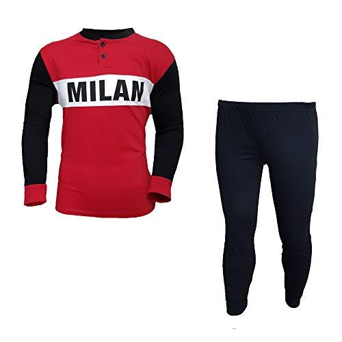AC Milan Pyjama Homme Long en Coton Produit Officiel Art. MI14075 - Noir - S