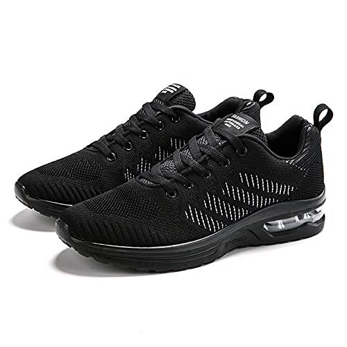 YISHUN Hombres Air Sports Running Tenis Zapatos de deporte ligeros de alta elasticidad lenta Running Zapatos deportivos, Negro gris, 41 EU