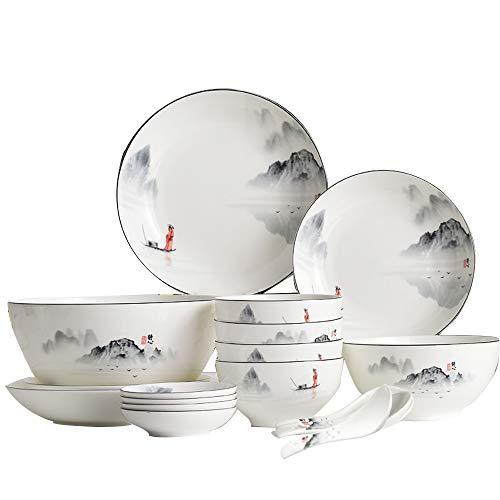 GYZD Hueso China Bowl Set Glassed Neutral New China Bone China Vajilla Placas y Cuencos (18 Piezas para 4 Personas)