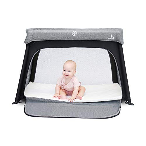 LuckyDove Portable Travel CribampPack n PlayLightweightSimple AssemblyampEasily CollapsibleTravel Crib with BassinetPortable Crib with Side Zipper Washable Mattress for Infants amp Toddlers Gray