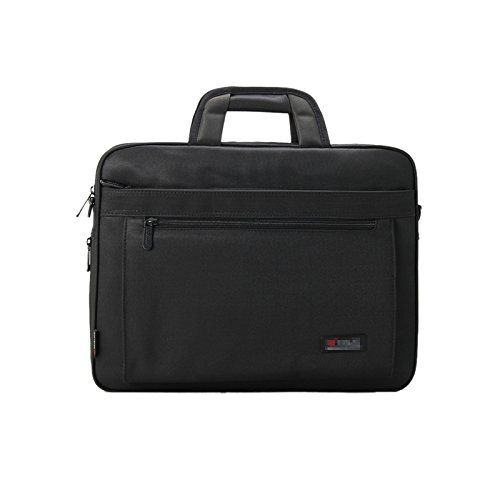Elonglin 15.6 inch Laptop Case Oxford Men's Laptop Bag Carry-all Clutch Business Travel Briefcase Computer PC Roomy Multi-compartment Shoulder Messenger Bag Expandable for Macbook Black Style A