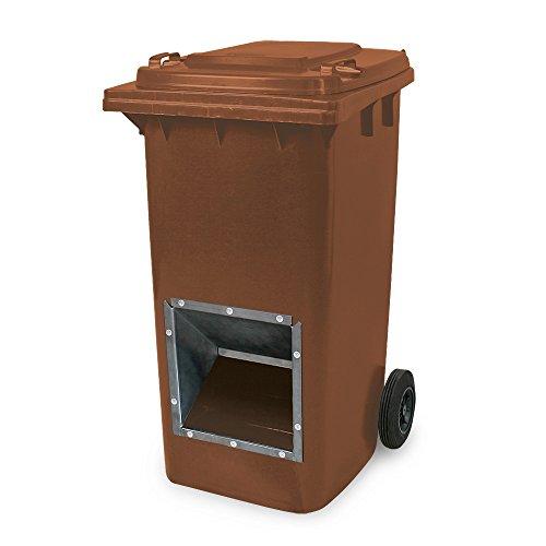 Mobiler Streugutbehälter, Streusalzbehälter 240 Liter, mit Entnahmeöffnung, auch für Streusplit, braun
