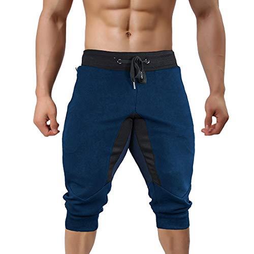 TREKEK Men's 3/4 Workout Pants Running Joggers Gym Shorts Breathable Athletic Capri Sweatpants, Blue, 38