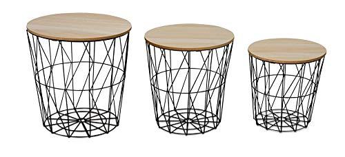 levandeo 3er Set Beistelltisch Metall Metallkorb Drahtkorb Schwarz Couchtisch Deckel Aufbewahrung Design Deko Tisch Home