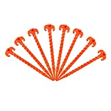 Canopy Stakes Canopy Anchors Beach Tent Stakes Heavy Duty Screw Shape 25 cm 10 inch - 8 Pack Orange