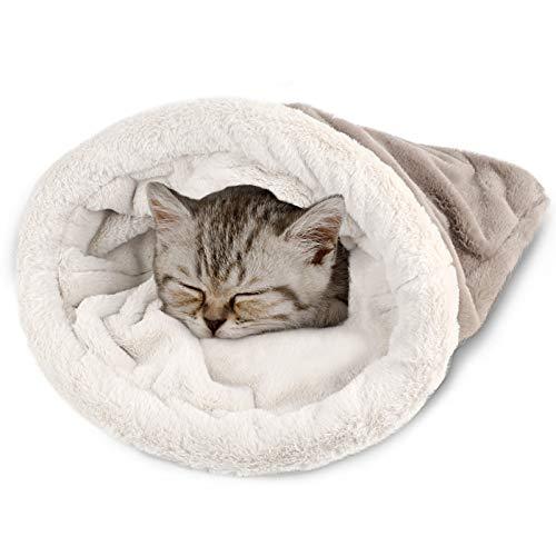 G.C Saco de Dormir para Gatos Cama Gatos Vellón Suave antiestres Camas para Mascotas Acurrucarse Saco Manta Colchoneta Gatos Perros Nido Cueva Acogedor Gatito Cubierto Cama