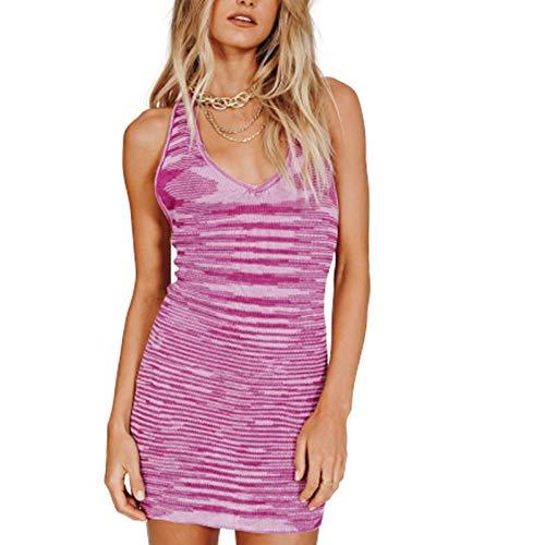GuliriFe Vestido sexy de cuello halter para mujer, vestido ajustado con teñido anudado, de punto, sin mangas, vestido corto de verano Y2k Streetwear