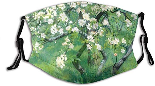 Face Mask Oil Painting Series Artistic Style Pear Tree with White Pear Flowers and Green Leaves Balaclava Unisex Reusable Windproof Mouth Bandanas Outdoor Neck Gaiter Made in USA