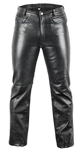 MDM Lederjeans Bikerjeans Lederhose in schwarz (42)