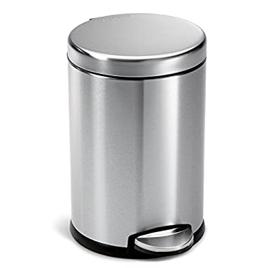 simplehuman 4.5 Liter / 1.2 Gallon Compact Stainless Steel Round Bathroom Step Trash Can, Brushed Stainless Steel