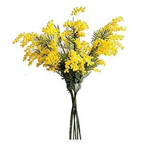 WUAHEIE 50 Pieces 57 cm Artificial Yellow Flower Branches, Fake Mimosa Plastic Leaves, Small Pompom Stamens, Dining Table, Bedroom Decoration (Size : 12pcs)