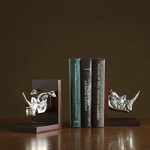KK Zachary Raumdekoration Luxus Aluminium Silber Rhino-Kopf-Form Bookend Holzsockel Magazin Regal Wohnzimmer Schlafzimmer Hotel Cafe Buchhandlung Desktop-Dekoration 26 * 11 * 16CM