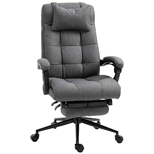 Vinsetto Executive Linen-Feel Fabric Home Office Chair with Retractable Footrest, Headrest, Dark Grey