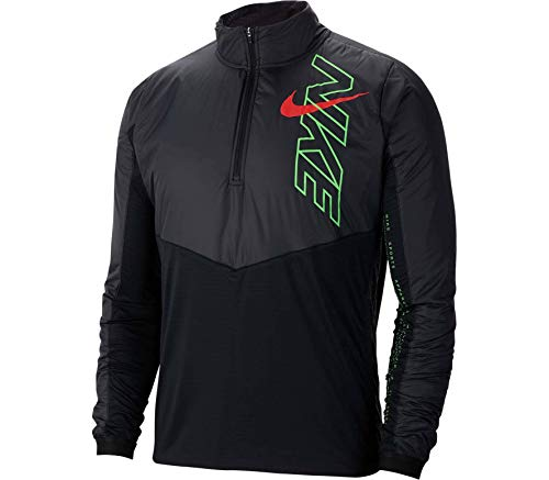 Nike Herren M NK ELMNT Track TOP HZ WM AIR Long Sleeved T-Shirt, Black/Scream Green/Bright Crimson, XL