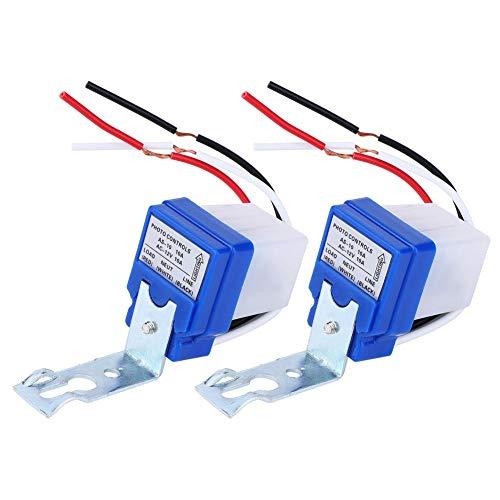 2 Interruptores de Control de la Luz, Sensor Automático Exterior, Control de la Luz, Sensor con Fotocélula, Interruptor de Luz, Sensor Fotoswitch de Sensor (as-10a-12v)