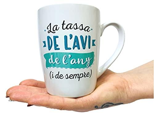 Taza Original de Desayuno para Regalar Abuelo - Tazas Originales para Regalar Dia de la Abuelos - Regalos para Abuelos Desayunos Originales en Catala - Tazas con Mensajes y Frases en Catalan 350 ml
