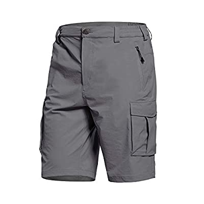 BALEAF Men's Cargo Shorts Quick Dry Zip Pockets Lightweight Breathable for Hiking, Camping, Travel Dark Grey S