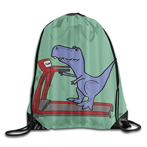 MOBEITI Zaini con coulisse Borse da palestra a corda,simpatico dinosauro su tapis roulant,zaino alla moda di grande capacità da casa da viaggio Sport per uomo donna