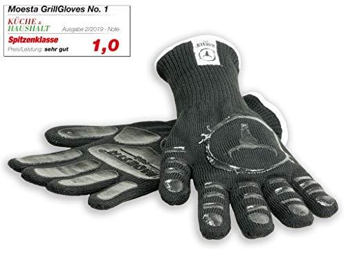 Moesta-BBQ 10375 GrillGloves No.1 Größe L/XL – Die Grill-Handschuhe der Profis -Bis 500° C hitzebeständiger Grill- und Ofen-Handschuhe aus Meta-Aramid – Zertifiziert nach Lebensmittelstandard LFGB