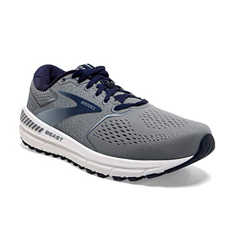 Brooks Mens Beast '20 Running Shoe, Blue/Grey/Peacoat, 45.5 EU Larga