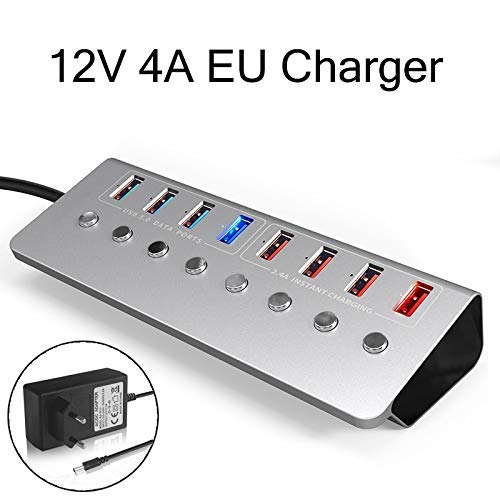 Usb3.0 Usb3.0 USB-hub, aluminium legering, 8-poorts USB-hub, 4-poorts snellader, externe 12 V, 4 A, stroomvoorziening met Eu-Charger, laadstation, snellading, laadbus