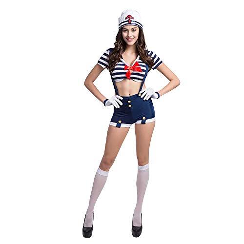 thematys Costume da Capitano Marinaio Bianco-Blu - Set di Costumi per Signore - Perfetto per Carnevale e Cosplay - 2 Taglie Diverse (L)