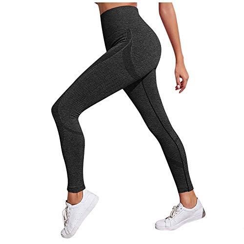 Pantalones de yoga para mujer, pantalones de fitness, yoga, cintura alta, leggings elásticos, elásticos Negro S