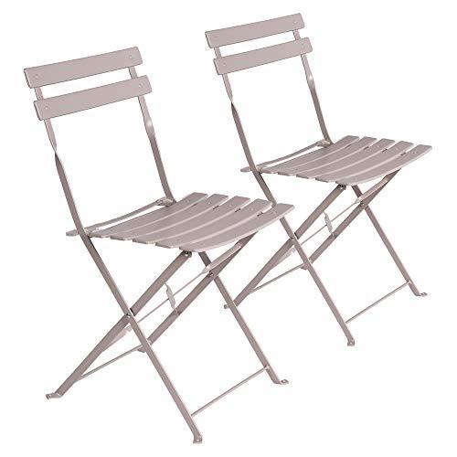 LOLAhome Set de 2 sillas de jardín Plegables con láminas Curvas de Acero de 80x46x41 cm (Gris)