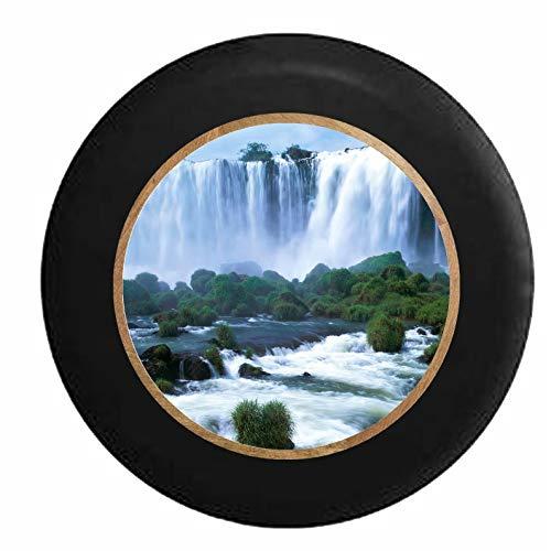 Hokdny Cubiertas De Neumáticos para Rueda De Repuesto Vista De La Cascada Desde Un Barco Negro A Prueba De Polvo, Impermeable, Protección Solar Y Protección contra La Corrosión.