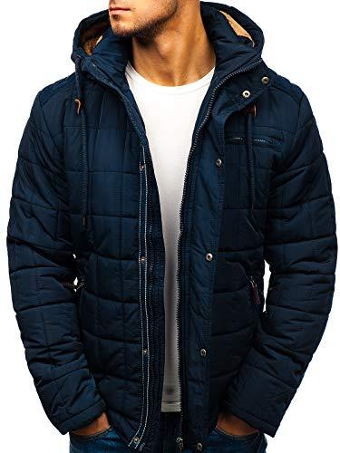 BOLF Winterjacke mit Kapuze Steppjacke Stehkragen Zip Reisverschluß Casual Style Extreme 1672 Dunkelblau M [4D4]
