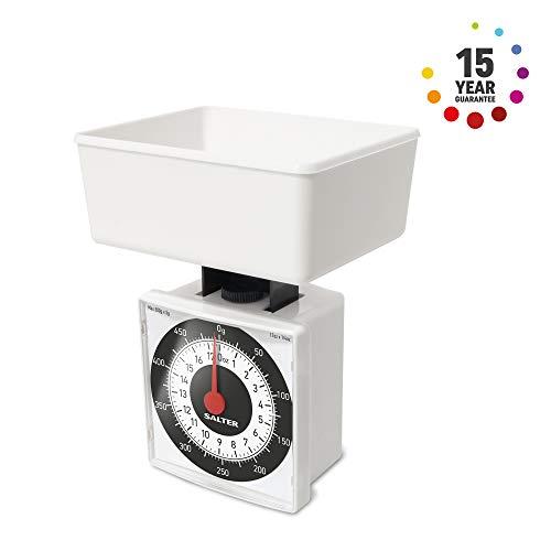 Salter Dietary Mechanische Keukenweegschalen – 500g capaciteit, Weeg in 5g Toename voor Precise Portion Control, Schaal Past Inside Pan, Compact + Ideaal voor Reizen, 15 Jaar Garantie - Wit