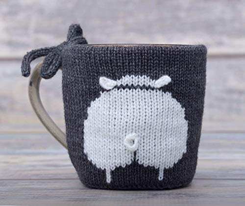 Sheep Lover Tea Cup Cozy Teacup Sweater Cosy Warmer Knit Gift Coffee Sleeve Sheep Butt