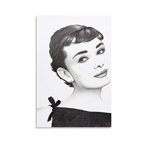 Lienzo decorativo para pared, diseño de Audrey Hepburn, 50 x 75 cm
