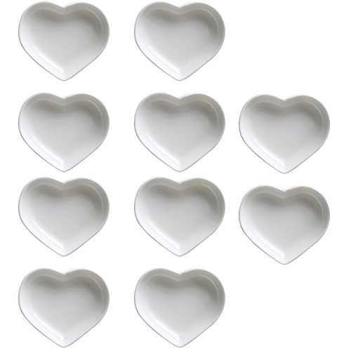 SOCOSY Heart-shaped Multipurpose Ceramic Sauce Dish Seasoning Dishes Sushi Dipping Bowl Appetizer Plates Serving Dish Saucers Bowl(Set of 10)