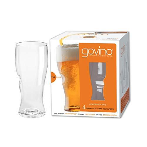 Govino Go Anywhere Dishwasher Safe Beer Glasses Flexible Shatterproof...