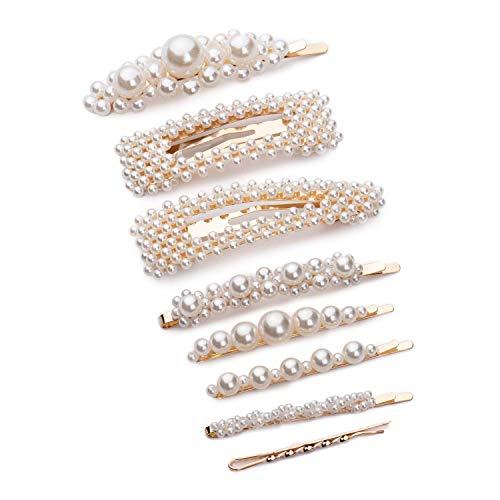 Katloo 8 PCS Pince à Cheveux Perles Femme Artificielle Barettes Cheveux Grosse Filles pour la Cérémonie De Mariage Cadeau D'anniversaire Épingles Accessoires
