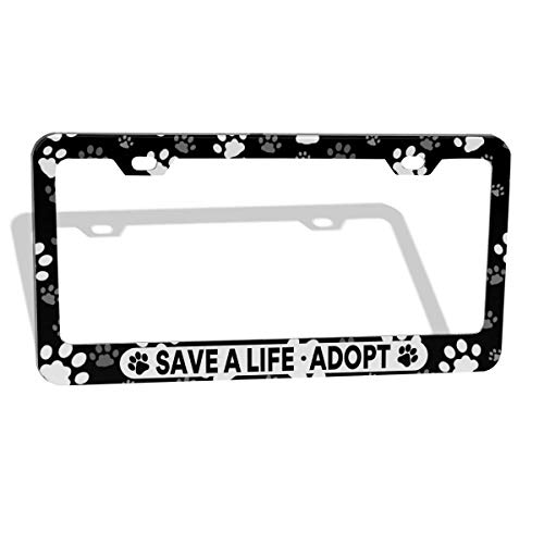 DZGlobal Save A Life Adopt Pet Cat Dog License Plate Frames Paw Prints Design License Plate Covers Aluminum Novelty Car Tag Frame 2 Holes and Screws for Adults