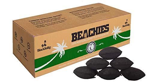 BlackSellig 10 Kg Beachies Kokos Grill Briketts Reine Kokosnussschalen Grillkohle - perfekte Profiqualität - für den Short Job