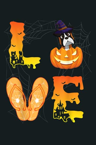 Moon Flip Flop Bat Spider Pumpkin LOVE Boxer Halloween Day: Notebook Planner - 6x9 inch Daily Planner Journal, To Do List Notebook, Daily Organizer, 114 Pages