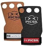 PicSil Raven 3H Calleras para Cross Training Grips 3 Agujeros Agarre y Protector de Mano o Guantes para Gimnasia Unisex para Hombres y Mujeres en Deportes Fitness Halterofilia (Talla M, Marrón)