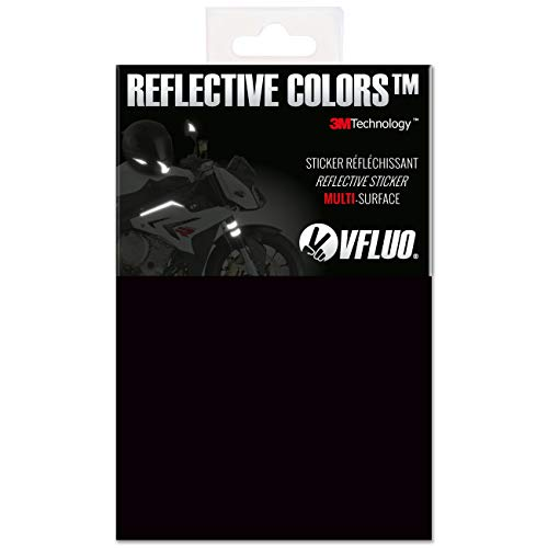 VFLUO 3M Reflective Colors™, Kit de Pegatina Retro Reflectante a Cortar para Casco de Moto/Motocicleta/Bicicleta, 3M Technology™, Hoja de 10 x 15 cm, Negro