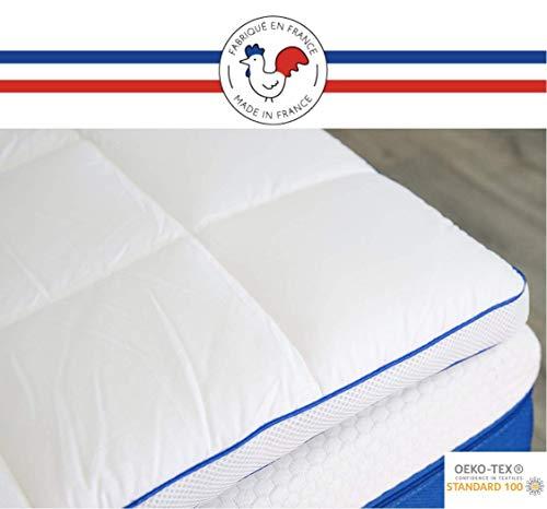 RESTBULLE Surmatelas à Mémoire de Forme 90 x 190 cm - Confort Morphologique - Qualité Hôtellerie - Fabriqué en France - Epaisseur Totale de 7cm - Enveloppe Amovible et Lavable - Certifié Oeko-Tex