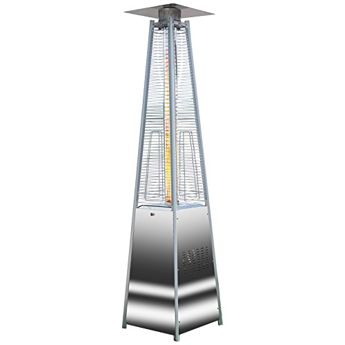 Marko Outdoor Quartz Glass Flame Tube Patio Heater Stainless Steel 227cm tall 13 Kw Stylish