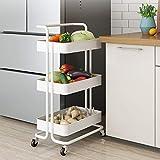 OUNUO Küche Organizer Küchenwagen Rollwagen Servierwagen küchenrollwagen Allzweckwagen 3-Etagen Badwagen (Weiß)