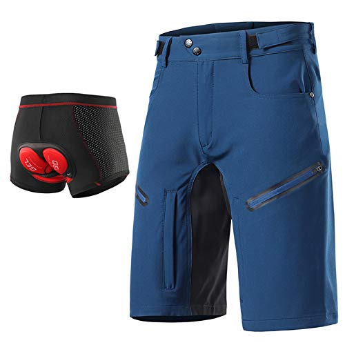 Beylore MTB Downhill Hose Herren Kurz Radhose, 3D Gel Fahrradunterhose Männer Gepolstert mit Sitzpolster Baggy Schnelltrocknende Atmungsaktiv Mountenbike Fahrradhose,Blau,XL
