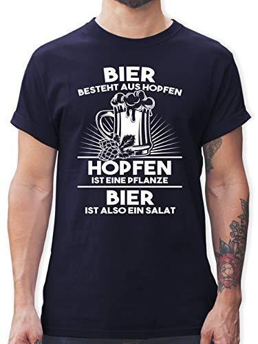 Sprüche - Hopfen ist eine Pflanze Bier ist Salat - XL - Navy Blau - l190_Shirt_Herren - L190 - Tshirt Herren und Männer T-Shirts